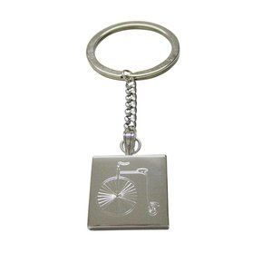 Etched Penny Farthing Bicycle Keychain